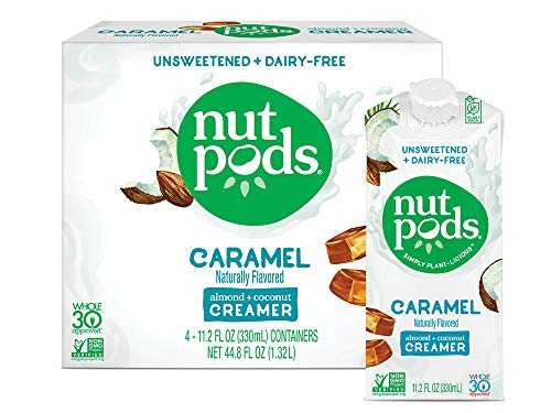 nutpods Caramel 4-pack, Unsweetened Dairy-free Coffee Creamer, Whole 30 Approved and Great Keto Coffee Creamer, Vegan Coffee Creamer and Paleo Coffee Creamer and Sugar Free Coffee Creamer