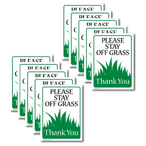 "VictoryStore Yard Sign Outdoor Lawn Decorations: ""Please Stay Off The Grass"" Outdoor Sign, Set of 10, Size 9 Inch x 12 Inch"