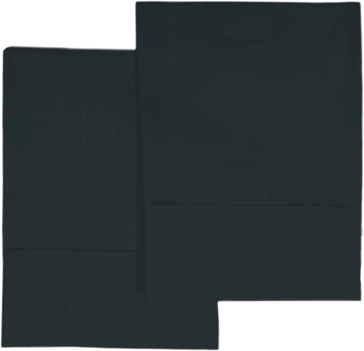 400 Thread Count Cotton King Pillowcases Midnight Black, 100% Long Staple Cotton Smooth Sateen Pillowcase with Stylish 4
