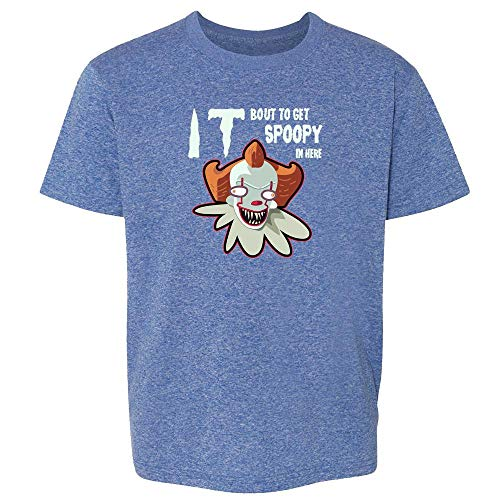 It Bout to Get Spoopy in Here Funny Horror Clown Heather Royal Blue S Youth Kids T-Shirt -