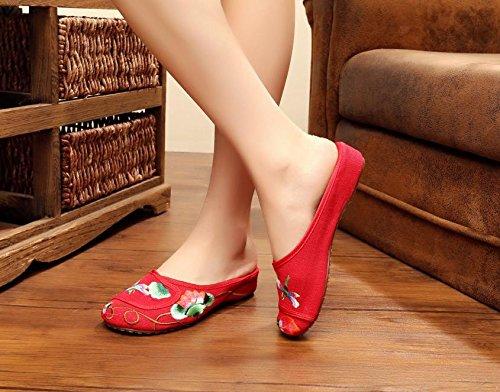 WXT Zapatos bordados finos, lenguado del tendón, estilo étnico, flip flop femenino, manera, cómodo, sandalias Red