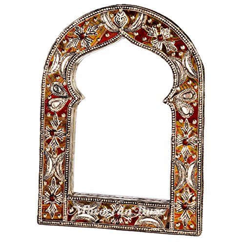 Keyhole Arch Leather Mirror - glass wall mirror