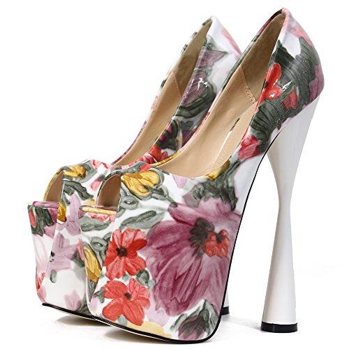 fereshte Women's Flower Pattern Peep Toe Platform Super Extreme Block High Heel Pump Wedding Shoes Pink GsWMfi