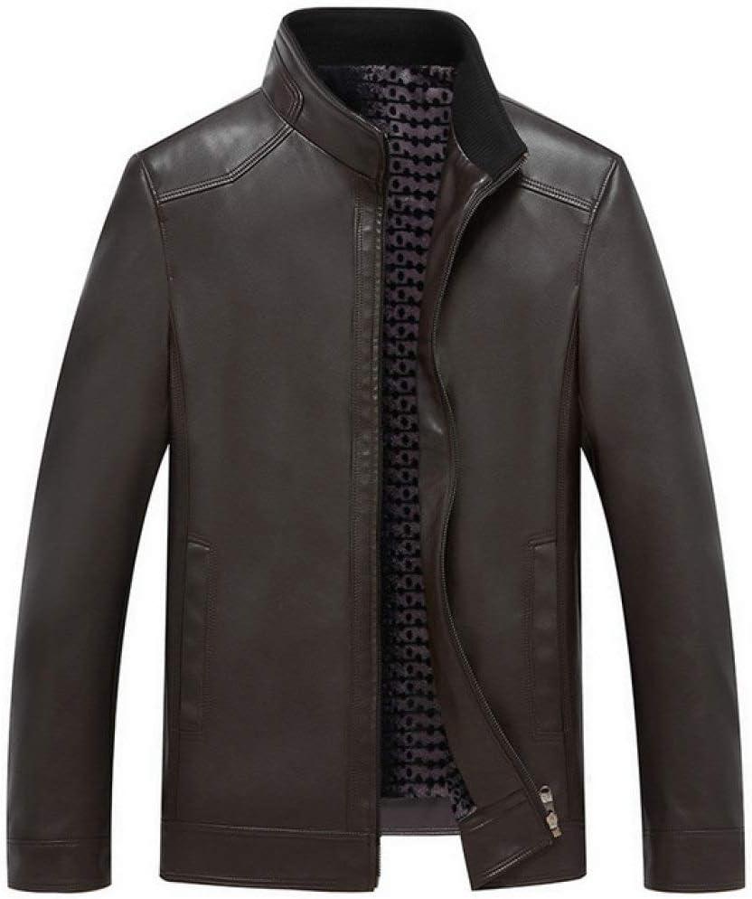 EIJFKNC Chaqueta de Cuero Hombres Negro PU Leather Coat Chaqueta de Motocicleta 3XL Nueva Ropa Masculina Primavera Chaqueta de Cuero sintético