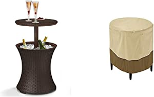 Keter 7.5-Gal Cool Bar Rattan Style Outdoor Patio Pool Cooler Table, Brown w/ Classic Accessories Veranda Cover