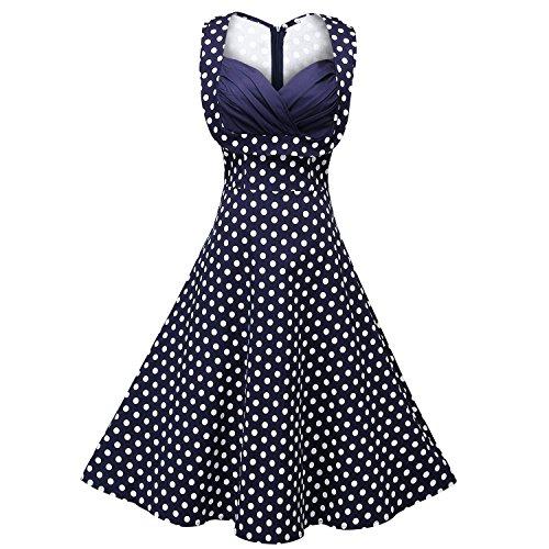 Creti-Womens-1950s-Vintage-Halter-Polka-Dot-V-Neck-Sleeveless-Swing-Dress