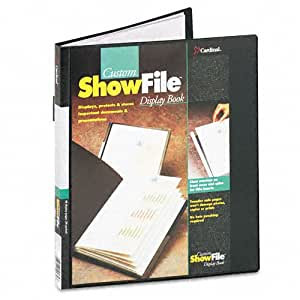 Cardinal ShowFile Display Book with Custom Cover Pocket , 8.5 x 11 Inch Sheet Size, 24 Sleeves, Black (50232)