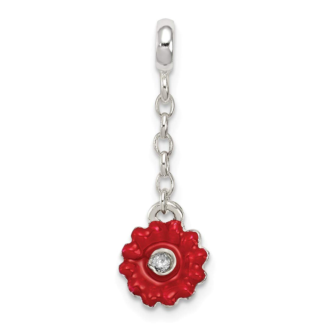 ICE CARATS 925 Sterling Silver Red Enameled Flower Cubic Zirconia Cz 1/2in Dangle Enhancer Necklace Pendant Charm Gardening Fine Jewelry Ideal Gifts For Women Gift Set From Heart
