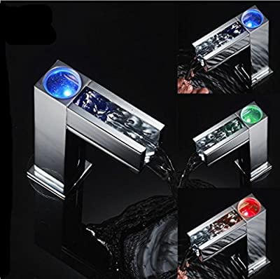 XIE Automatic Water Faucet Cold Hot 3 Color Sensor Led Light Water Faucet Tap For Bathroom Waterfall Faucet Water Mixer Tap