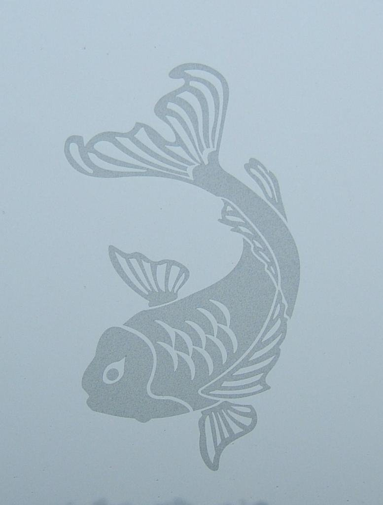 Metal Monkey Stickers Japanese Oriental Koi Fish Window Glass Etch or Stained Glass Effect Decal A 1 x 300mm Pink