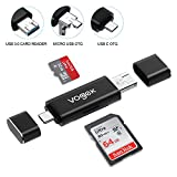 VOGEK SD Card Reader, 3-in-1 USB 3.0/USB C/Micro USB Card Reader - SD, Micro SD, SDXC, SDHC, Micro SDHC, Micro SDXC Memory Card Reader for MacBook PC Tablets Smartphones with OTG Function, Black