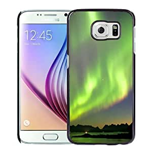 NEW Unique Custom Designed Samsung Galaxy S6 Phone Case With Northern Lights Green Glow_Black Phone Case