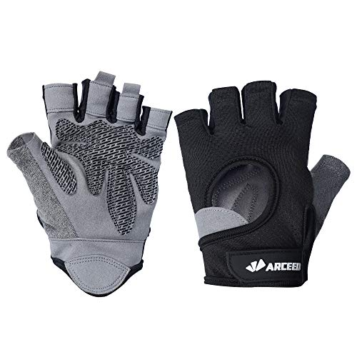 - ARCEED Workout Gloves, Knuckle Weight Lifting Shorty Fingerless Gloves with Curved Open Back, for Powerlifting, Gym, Crossfit, Riding, Women and Men (Black, M)