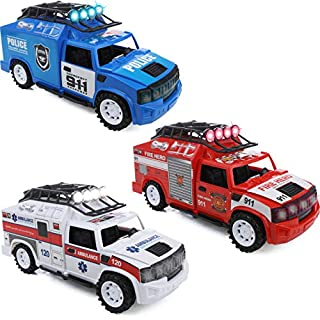 IQ Toys Set of 3 Emergency Rescue Vehicles Playset - Ambulance, Fire and Police Truck with Lights and Sirens