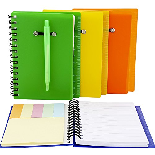 Pocket Spiral Notebook - Maxdot 4 Sets Spiral Notebook Cover Paper Steno Pocket Notepad with Pen in Holder, Sticky Notes and Page Marker Index Tabs Flags, 4 Colors
