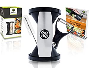 The Original Zoodle Slicer - Complete Vegetable Spiralizer Spiral Slicer Bundle (With Cleaning Brush, Peeler & eBook)