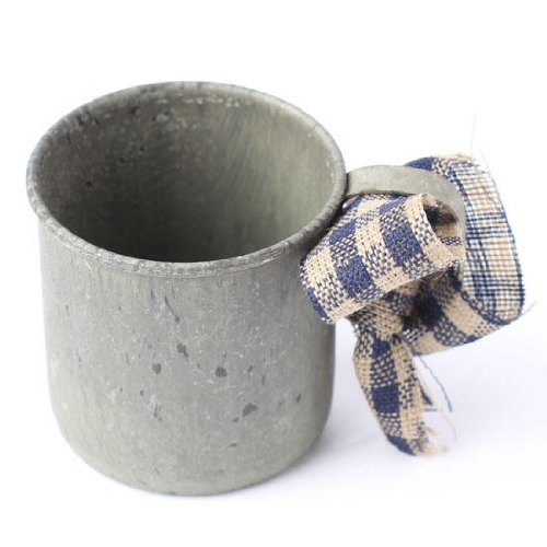 (Set of 4 Rustic Antique Reproduction Mini Tin Cup Ornaments with Homespun Hanger)