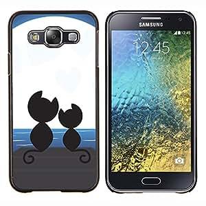 "Be-Star Único Patrón Plástico Duro Fundas Cover Cubre Hard Case Cover Para Samsung Galaxy E5 / SM-E500 ( Lindo gatos Luna"" )"