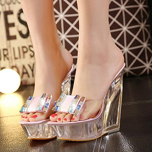 Heel for Shoes 36 B 2018 Wedding Spring Heel Women's Size Shoes Heels up Club New Light Shoes Crystal Color Part Summer Platform Wedge SzB7xqngaw