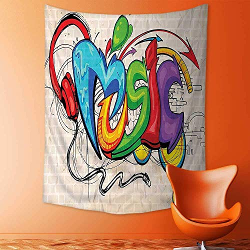 Giow Tapestry Wall Hanging Mysterious Tapestry Illustration of Graffiti Style Music Lettering Headphones Hip Hop Rhythm Tempo Hipster Concept Tapestry Art for Home Decor 150x200 cm