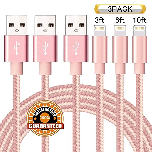Suanna Phone Cable 3Pack 3FT 6FT 10FT Nylon Braided 8 Pin Charging & Syncing Cord Compatible with iPhone X iPhone 8 8 Plus 7 7 Plus 6s 6s Plus 6 6 Plus iPad iPod Nano - Pink