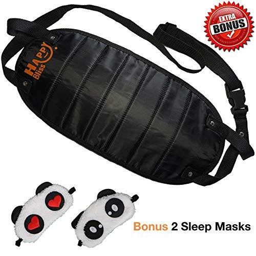 Train Bus or Office Desk Breathable Comfortable Memory Foam Airplane Footrest with Adjustable Straps for Plane Happy Bliss Foot Hammock for Air Travel with 2 Panda Eye Sleep Masks