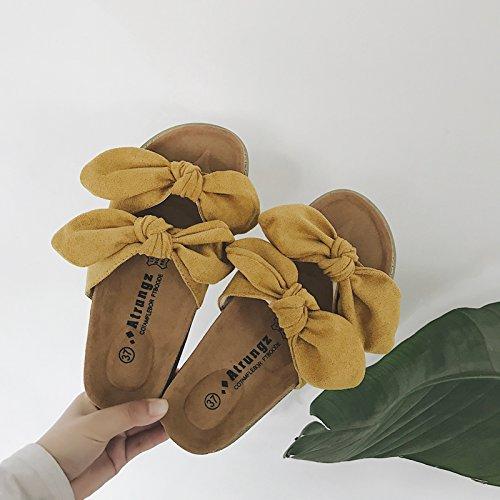 trascinare estate Kaki beach pantofole piatto fankou wild Pantofole la parola di Tie cool fondo femmina morbido Bow spessore usura qznHCwEn