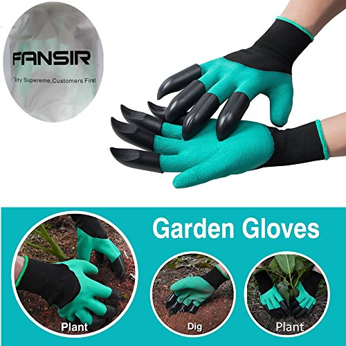 Garden Gloves with Fingertips Claws Quick– Great for Digging Weeding Seeding poking -Safe for Rose Pruning –Best Gardening Tool -Best Gift for Gardeners(Double Glaw Gloves)