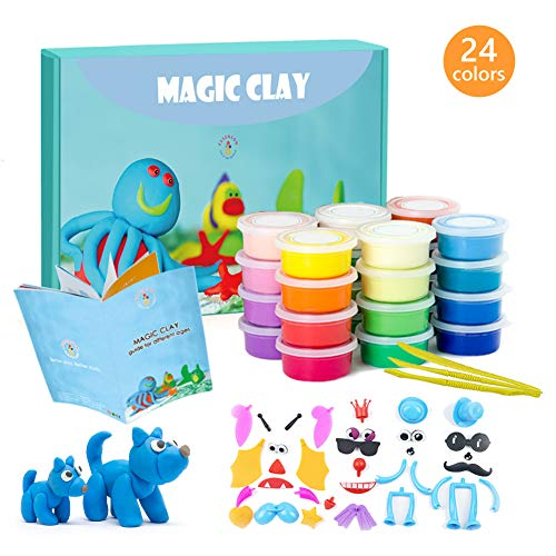 Modeling Clay Kit - 24 Colors Air Dry Ultra Light Magic Clay, Soft & Stretchable DIY Molding Clay with Tools, Animal Accessories, Easy Storage Box Best Crafts Gift for Boys & Girls Age 3-12 year old Clay Crafts For Kids