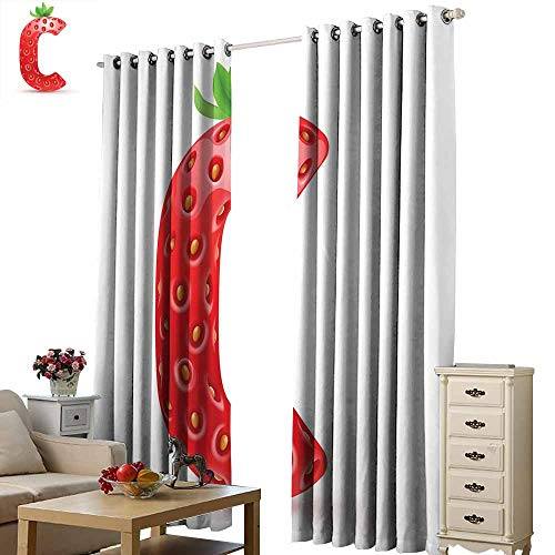 Warm Family Letter C Heat Insulation Curtain Strawberry Letter from Alphabet with Green Leaves Seeds Uppercase C Set of Two Panels W120 x L84 Vermilion Green Orange