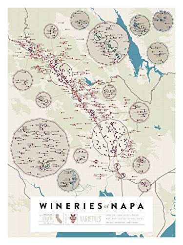 Pop Chart Lab Napa Wine Map-Wineries of Napa Poster Print, Multicolored