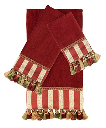 Austin Horn Classics Mount Rouge Red 3-Piece Luxury Embellished Decorative Towel Set (Embellished Towel Sets)
