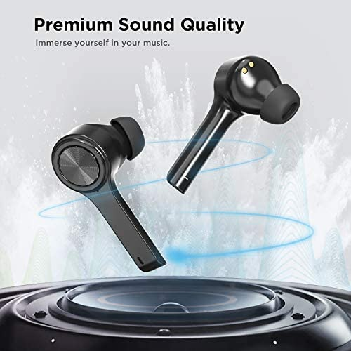 Wireless Earbuds, Letsfit Bluetooth 5.0 Headphones TWS Stereo Touch Control Earbuds with Charging Case, IPX5 Waterproof in-Ear Sport Earphones with Mic for Running Gym Workout Black