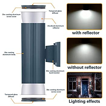 Outdoor Wall Light, ZUUKOLE Exterior Lighting - ETL Listed, Die-Casting Aluminum Waterproof Wall Mount Cylinder Design - Up Down Light Fixture for Porch, Backyard and Patio(Darkgrey)