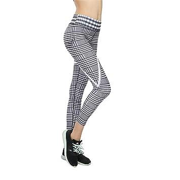 Yoga Pantalón Mujer,Pantalones Impresos Tela Escocesa De La ...