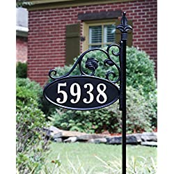 "Park Place Oval Double Sided Reflective 911 Home Address Sign for Yard Hand Crafted in USA Wrought Iron Look (48"" Pole)"