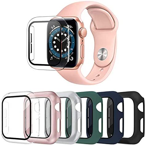 OMEE 6 Pack Apple Watch Case 38mm Series 3/2/1 with Tempered Glass Screen Protector, Ultra-Thin Hard PC Shockproof iWatch 38mm Accessories Bumper Full Protective Cover for Men/Women