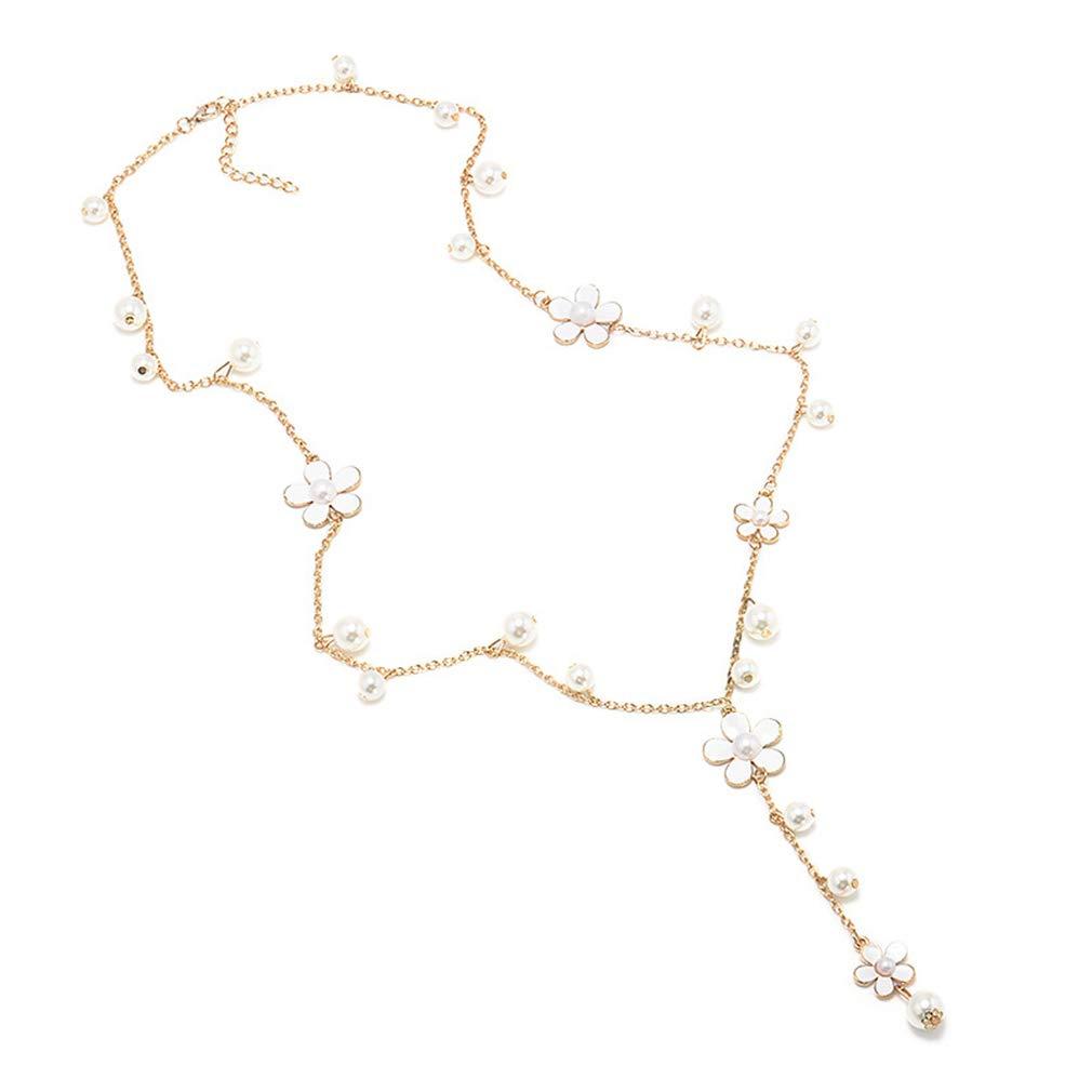 yunzee Fashion Women Long Chain Five Petals Flowers Imitation Pearl Sweater Necklace,White,Zinc Alloy