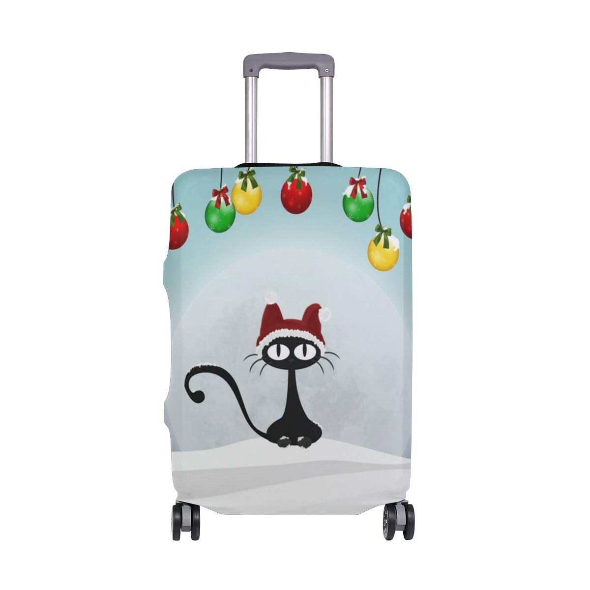 Black Aat Christmas Balls Snow Winter Art Picture suitcase cover elastic suitcase cover zipper luggage case removable cleaning suitable for 29-32 trunk cover