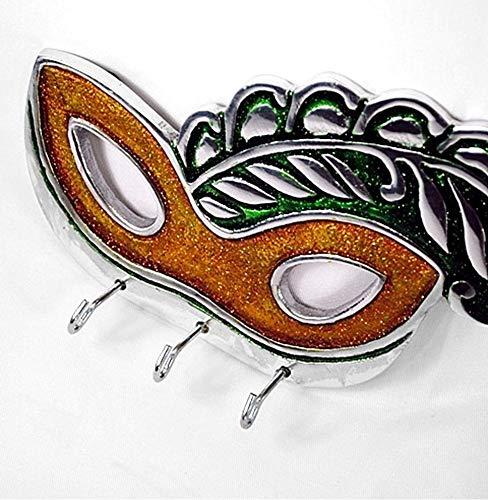 Mardi Gras Mask Gold and Green Wall Mount Key Hooks ()
