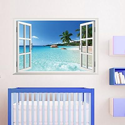 "Smartcoco 3D Coconut tree Ocean Beach Fake Window Wall Sticker DIY Removable Adhesive Wall Decal Sea Landscape Mural Art, 35.4"" X 23.6"""