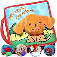 Premium Soft Baby Book First Year, Cloth Book with Crinkly Sounds, Fun Interactive Toy, Fabric Book for Babies