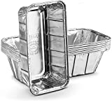 Propack Aluminum Disposable Rectangle 2 Pound Loaf Pans For Serving, Baking, Cooking, Roasting, Broiling, Cakes, 8.5'' x 4.5'' x 2.5'' Pack of 10