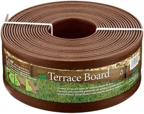 Master Mark Plastics 95340 Terrace Board Landscape Edging Coil, 5-inch x 40-Foot, Brown Pack of 4