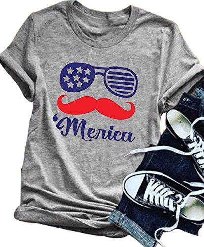 fc001b48c9b YUYUEYUE Women s Patriotic Merica Flag Sunglasses Cute T Shirt 4th of July  Shirt Top