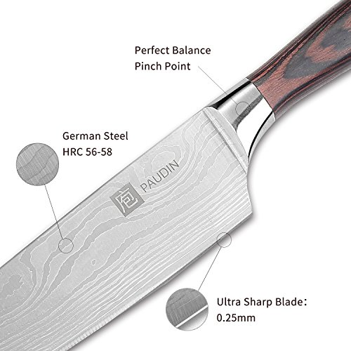 PAUDIN Pro Kitchen Knife 8 Inch Chef's Knife N1 German High Carbon Stainless Steel Knife with Ergonomic Handle, Ultra Sharp, Best Choice for Home Kitchen and Restaurant by PAUDIN (Image #3)
