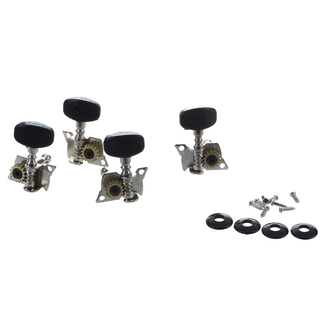 4Pcs Ukulele Guitar and Small 4 String Guitar Tuning Pegs Machine Heads 2R and 2L Silver and Black SODIAL(R) 018114