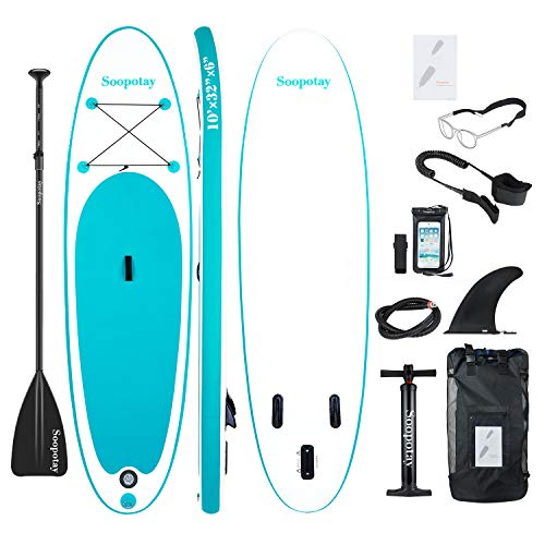 Inflatable Stand Up Paddle Board, All Around Inflatable SUP Board, Yoga iSUP for Youth & Adult with All Accessories (All Round - Turquoise Green)