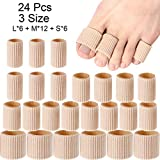 24 Pieces Toe Cushion Tube 0.98 Inches Toe Tubes Sleeves Soft Gel Corn Pad Protectors for Cushions Corns, Blisters, Calluses, Toes and Fingers, 3 Size (Mixed Size Toe Cushion Tube, 24 Pieces)