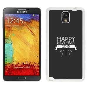 NEW Unique Custom Designed Samsung Galaxy Note 3 N900A N900V N900P N900T Phone Case With Happy New Year 2015 Retro Insignia_White Phone Case wangjiang maoyi